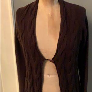 Cynthia rowley brown cashmere cardigan